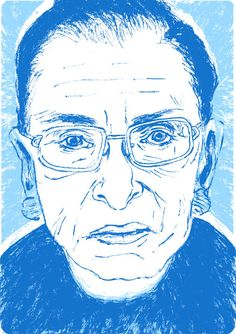 A drawing of Ruth Bader Ginsburg.