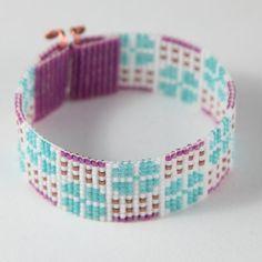 SALE Miami Ice Bead Loom Bracelet Artisanal Jewelry by PuebloAndCo