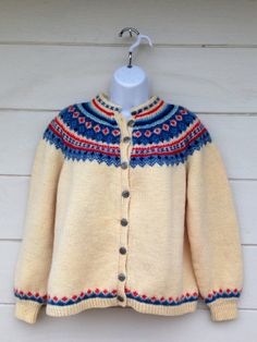 Rare Hand Knit Norway wool cardigan sweater NORSK HUSFLID
