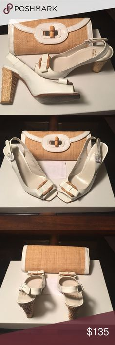 Authentic Stuart Weitzman Slingback Pumps & hndbag PRICE REDUCTION!  Authentic White Patent & Leather Ratan Slingback Sandals w/coordinating Sondra Roberts clutch bag. Perfect match!  Gently used. Stuart Weitzman Shoes Sandals