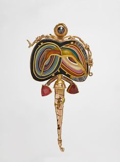 "William Harper (American, b. 1944). ""Faberge's Twins"" Brooch, 1993. 14K and 24K gold, gold cloisonné enamel on fine silver, sterling silver, tourmalines, and pearl. The Metropolitan Museum of Art, New York. Gift of Donna Schneier, 2007 (2007.384.21). #jewelry"
