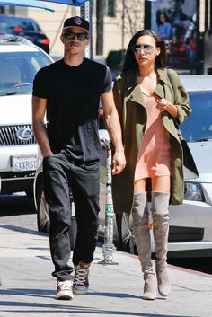 Naya Rivera looking fabulous in the HIGHLAND boot while out with husband Ryan Dorsey.