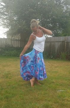 Blue tie dyed skirt ice hand gypsy pixie fairie skirt by Lunabeanshoppe.etsy.com