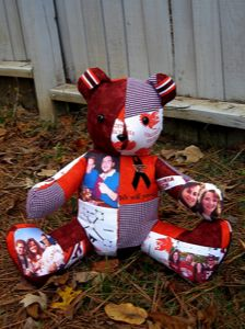 Memory bear. THIS is what I will do for each of my kids with some of my dad's clothes and pictures of him with his grandkids.