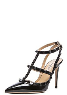 Rockstud Punkouture Patent Leather Slingback T 100 In Black by Valentino