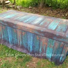 Teal and Turquoise Patina Faux Wood Fitted Fabric Table Cover – Stack Displays Craft Show Table, Craft Show Booths, Craft Fair Displays, Fitted Tablecloths, Vintage Tablecloths, Teal Table, Fall Mason Jars, Aging Wood, Wood Crates