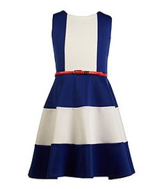 Blush by US Angels 7-16 Belted Colorblocked Scuba Dress