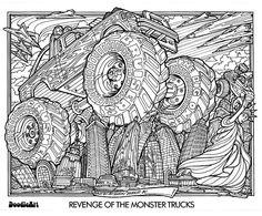 Revenge of the monster trucks Doodle Art Coloring Poster photo revenge_of_the_monster_trucks_doodle_art_poster.jpg