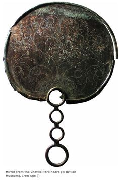 """Chettle Park hoard; British Museum, London, UK. Dimensions: 23.5 x 21cm   """"This mirror is decorated with an exquisite geometric La Tène design. The decoration is the most beautifully executed example known to date (60 mirrors of this period are known from Britain). Iron Age  1st century BC — mid 1st century AD"""