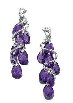 Pair of amethyst and diamond pendent ear clips, michele della valle of spiral design, set with brilliant-cut diamonds and faceted amethyst drops, mounted in white gold and titanium, signed Michele della Valle and numbered. Purple Jewelry, Amethyst Jewelry, I Love Jewelry, Bling Jewelry, Jewelry Accessories, Jewelry Design, Jewlery, Purple Accessories, Amethyst Earrings