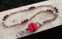 Arkansas Razorbacks Beaded Lanyard by TheLanyardNecklace on Etsy, $30.00