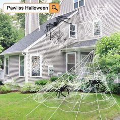 Halloween Giant Spider Webs yard decorations. DIY Halloween Decorations For Outdoor And Home Decor. Explore these DIY decoration and Halloween Ideas for 2019! #halloween #halloweendecorations #outdoordecor #spider Halloween Cartoons, Creepy Halloween, Outdoor Halloween, Halloween 2017, Halloween Projects, Halloween Kids, Halloween Party, Diy Projects, Diy Yard Decor