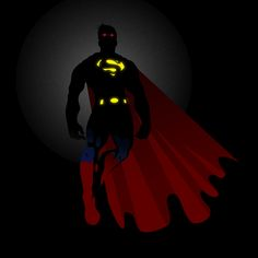 Illustration of minimalistic superman with some light effects
