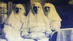 "Grand Duchess Tatiana Nikolaevna Romanova of Russia,Margarita ""Rita"" Sergeevna Khitrovo and Grand Duchess Olga Nikolaevna Romanova of Russia as Sisters of Mercy. ""AL"""