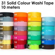 Solid Colour Paper Washi Tape $1.99 - 10m