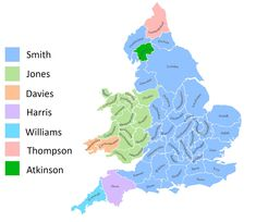 Most common surnames in England & Wales from the 1881 census. Map Geo, Visit Wales, Most Common, Historical Maps, Surnames, Character Development, British Isles, Ancestry, Will Smith