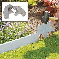 10 pack grey cobbled stone effect plastic #garden lawn edging #plant #border, View more on the LINK: http://www.zeppy.io/product/gb/2/381339168199/