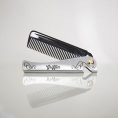 Personalised Man Comb With Leather Case by Design And Fresh Thinking, the perfect gift for Explore more unique gifts in our curated marketplace. Leather Case, Tan Leather, Male Grooming, Neodymium Magnets, Hair Comb, Barnet, Compact, Bottle Opener, Cosmetics