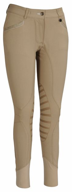 Equine Couture Ladies Ingate Knee Patch Breeches - This breech steps away from the traditional knee patch and instead features a Rubber Flex Patch (RFP) for a modern look and a secure grip. Additionally, there is no seam that goes down the inside of your leg, instead the seam is designed to go down the front of your leg and around your knee to prevent rubbing. CS2 bottom will make sure these are a perfect fit in your tall boots.