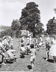 Tug-o-war at children's  picnic, Speers Point Park, Lake Macquarie NSW c.1957