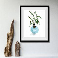 art print Lucky Bamboo, bamboo in planter print, bamboo watercolor print, still life painting, Aquamarine, zen, mothers day, minimalist art