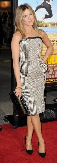 Who made Jennifer Aniston's print strapless dress that she wore in Westwood on February 16, 2012?