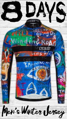 Our best selling 8 Days design now available in a long sleeve jersey. This graffitied artwork design was inspired by listening to the Beatles songs and realising they were singing about cycling! Oh yeah, we would ALL ride 8 days a week.   Beautifully cut and made with superb fabrics, this Long Sleeve Cycling Jersey is super comfortable to wear. Listen To The Beatles, Beatles Songs, Lining Fabric, Stretch Fabric, 8 Days, Cycling Jerseys, Artwork Design, Suits You, Stay Warm