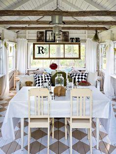 Villa Pömpeli on reilun kokoinen ja sinne mahtuu mainiosti ruokapöytä ja -tuolit, puusohva, heteka, kaksi lasten sänkyä, nojatuoli ja sivutaso. Table Settings, Shed, Cottage Ideas, Table Decorations, Garden, House, Furniture, Summer, Home Decor