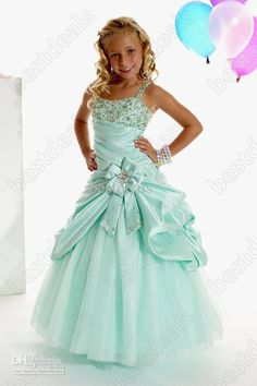 Wholesale 2013 Girls Party Dresses Aqua Green Spaghetti Straps Bowknot Beaded Girls Pageant Gowns PT13263, Free shipping, $78.4-89.6/Piece | DHgate