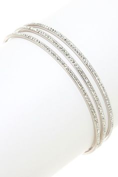 Glitz & Glam: Crystal Jewelry  Sterling Silver Swarovski Crystal Bangle Set