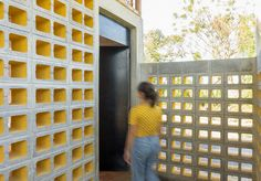 Breezeblocks form walls in this disaster relief shelter near Guatemala City, which DEOC Arquitectos has proposed after the eruption of Volcan de Fuego. Breeze Block Wall, Masonry Construction, Minimal Photography, Roof Structure, Brick And Stone, Concrete Blocks, Building Materials, Cladding, Wall Design