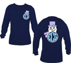 Snowman Monogram Shirt - Perosonalized Christmas Shirt, Snowman shirt, monogrammed shirt, snowgirl, snowman, christmas by 2SassyChicBoutique on Etsy https://www.etsy.com/listing/258366929/snowman-monogram-shirt-perosonalized