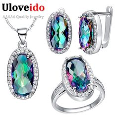 Special price Uloveido Silver Color Wedding Jewelry Sets Rainbow Blue Bridal Ring Pendant Necklace Earrings Jewelry Set Gifts 49% Off T482 just only $7.99 with free shipping worldwide  #weddingengagementjewelry Plese click on picture to see our special price for you