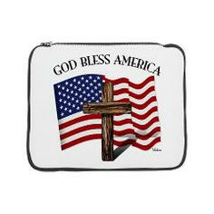 """God Bless American With US Flag and Rugged Cross 15"""" Laptop Sleeve    •   This design is available on t-shirts, hats, mugs, buttons, key chains and much more   •   Please check out our others designs at: www.cafepress.com/TsForJesus"""