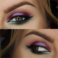 Makeup Geek Eyeshadows in Carnival, Dragonfly, Fairytale, Sorbet, and Time Travel + Makeup Geek Foiled Eyeshadow in Day Dreamer. Look by: Justyna Kolodziej