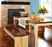DIY Dining Set: Wood table with matching benches. Turn rough construction lumber into top-notch material to make this affordable table and bench set. Diy Dining Room Table, Dining Set, Diy Table, Dining Tables, Kitchen Tables, Diy Kitchen, Kitchen Dining, Dining Table With Bench, Wood Table