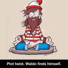 Where's Waldo? Right here. It's a lesson we would all do well to remember, that we are already found. Thank you @davidnewmandurgadas for sharing this. #whereswaldo #meditation #waldomeditates #yogaeverywhere #meditationeverywhere #meditativemagic #yoga #yogaeverydamnday #layoga #layogamagazine