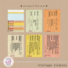 "FREEBIE!!! Project Mouse ""Vintage Tickets"" - made from real vintage Disneyland tickets.  Digital pocket style cards free from Britt-ish Designs! ♥ Disney Digital Pocket Style scrapping! Perfect for Project Life pages."