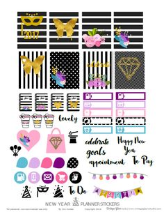 New Year Planner Stickers - Vintage Glam Studio