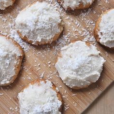 Lemon Cookies with Lemon Coconut Frosting  New recipe up on the blog today! #glutenfree #vegan #sugarfree