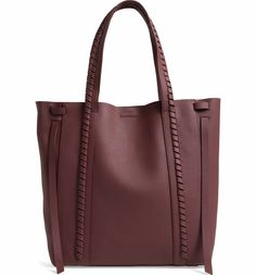 Allsaints Ray Leather Tote - Red In Burgundy Red/silver Allsaints Style, Mens Canvas Messenger Bag, All Saints, Handbag Accessories, Pebbled Leather, Timeless Fashion, Burgundy, Nordstrom, Totes