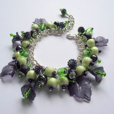 Charm Bracelet 'Blackberry & Apple' Black Green Silver by Flamehaired Jewellery Designs Green Color Schemes, Green Colors, Best Cocktail Dresses, Thing 1, Glass Texture, Jewellery Designs, Blackberry, Seed Beads, Jewlery