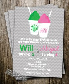 Snoball Invitation Sno cone ice cream treat birthday favor pool new orleans waterslide treats sweet digital diy printable sno ball snowball
