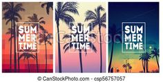 Summer tropical backgrounds set with palms, sky and sunset. Summer placard poster flyer invitation card. Summertime. Vector - stock illustration, royalty free illustrations, stock clip art icon, stock clipart icons, logo, line art, EPS picture, pictures, graphic, graphics, drawing, drawings, vector image, artwork, EPS vector art