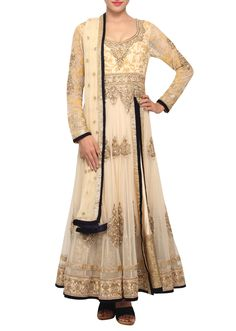 Cream coloured embellished salwar suit with dupatta only on Kalki