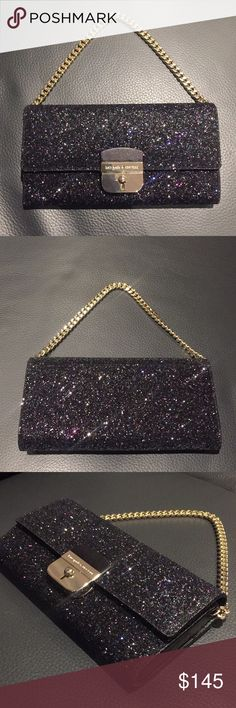 NEW Kate Spade Milou Purse - Sunset Lane - Black BRAND NEW Kate Spade ♠️ Sunset Lane Milou Purse in Black. This gorgeous glittery purse comes with a detachable gold link strap. A beautiful addition to a holiday party or any formal occasion.   Please see my listing for matching Sunset Lane Adi Cardholder Wallet. kate spade Bags Clutches & Wristlets