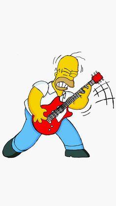 Homer Simpson Guitar Cartoon Illustration Art #iPhone #6 #plus #wallpaper