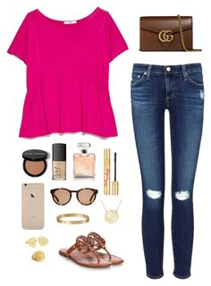 """""""Hot Pink and Neutrals"""" by preppy-otd ❤ liked on Polyvore featuring MANGO, AG Adriano Goldschmied, Linda Farrow, Tory Burch, NARS Cosmetics, Chanel, PUR, Gucci, Tiffany & Co. and Cartier"""
