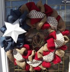 4th of July Burlap Wreath - Natural, red, and Blue Burlap Wreath, Rustic Wreath, Patriotic, Flag Wreath , Independence Day, Door Wreath on Etsy, $39.00 by leanne