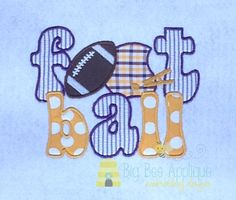 Football Applique Embroidery Design by BigBeeApplique on Etsy, $3.75